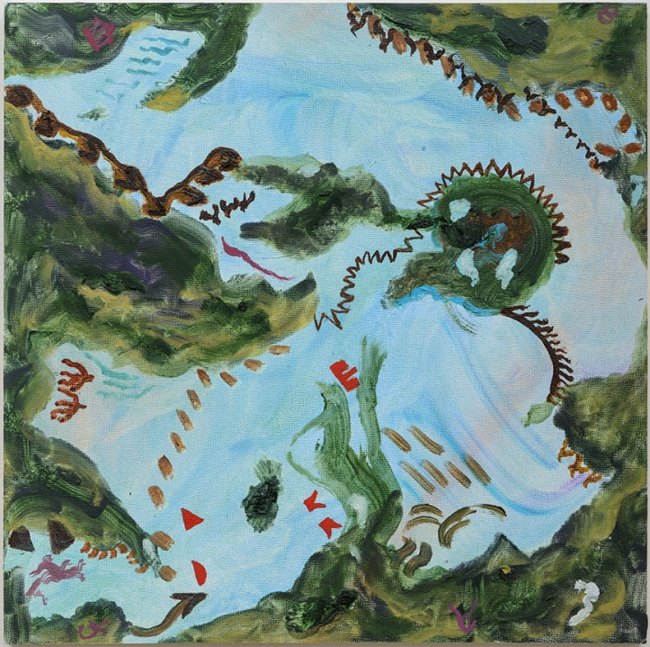 Susan Lizotte: New World II (oil on wood, 12 x 12 inches). Photo: Alan Shaffer