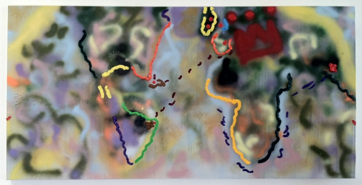 Susan Lizotte: For King and Country (2015, oil and spray paint on canvas, 24 x 48 inches). Photo: Alan Shaffer