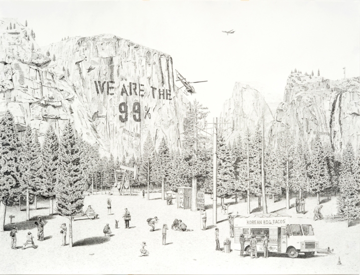 """NIMBY (national park), 2012, 38 x 50"", graphite pencil on paper"