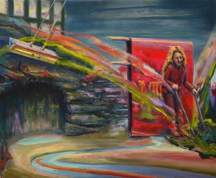 Coming Out of a Red Painting Near a Cave Painting, 48 x 58, oil on canvas, Thomas Whittaker Kidd 2015