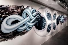"""Transfiguration,"" Acrylic on Duralar 7' x 43' x 5' 2016Tom Bradley International Terminal, LAX (Photo credit: Panic Studio LA)"