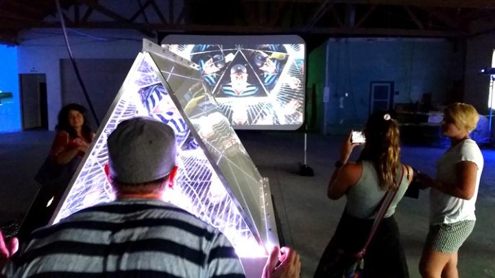 Creative Campus artists Grant Davis & Grove Pashley showcased an interactive installation. (Photo credit Patrick Quinn)
