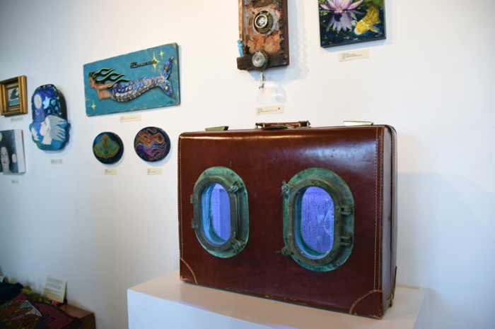 A great selection of work at Cactus Gallery. Foreground, from Susan Amorde's Baggage series. (photo credit Kristine Schomaker)