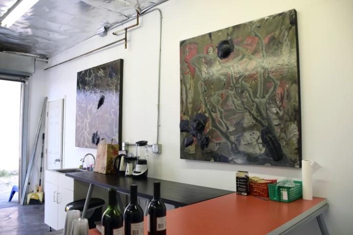 Abstract Artist Steve Seleska shows work created in his Frogtown studio. (photo credit Kristine Schomaker)