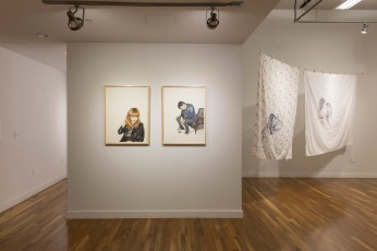 Installation view of Shizu Saldamando's work (SECOND WAVE) Photographs by Nikolay Maslov. Courtesy of UCR ARTSblock.