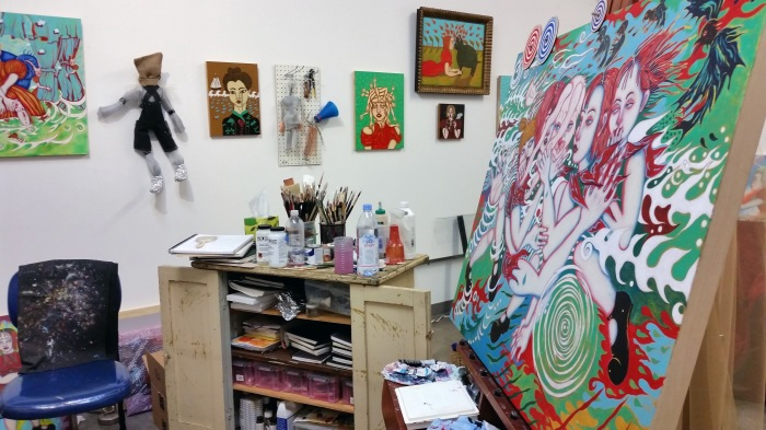Bibi Davidson's studio at Beacon Arts Building in Inglewood. Photo Courtesy Kristine Schomaker