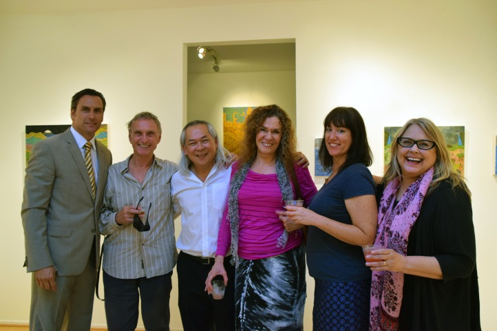 LAUNCH LA, Hung Nguyen opening reception. (Left to Right: James Panozzo, Ted Svenningsen, Hung Viet Nguyen, Lillian Abel, Jennifer Gunlock, Dani Dodge)
