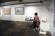 Artwork by Joelle Cooperrider and D.J. Richardson. Performance by Luciano Copete and Jenna Losario, Keystone Art Space Open Studios Group Show, Photo Credit Kristine Schomaker