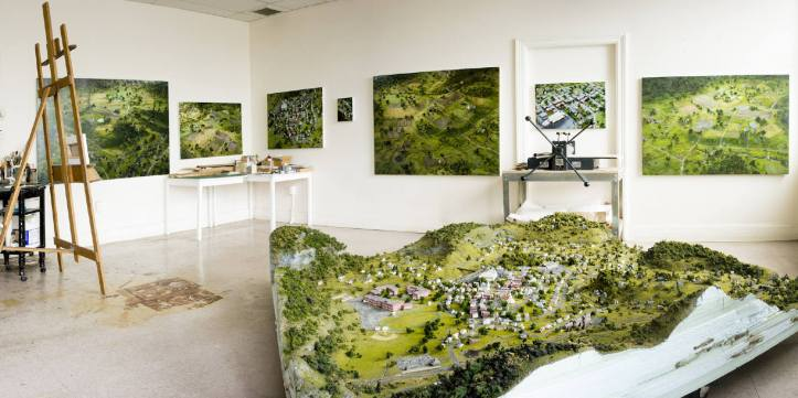 Amy Bennett, Studio view with town model. ©2016. Small Changes Every Day. Richard Heller Gallery. Photo courtesy Richard Heller Gallery, All rights reserved