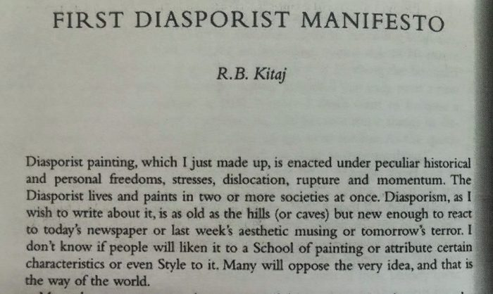 R.B. Kitaj First Diasporist Manifesto. Photo Credit Maja Ružnić