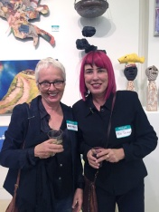 Malka Nedivi and Bibi Davidson. Final MAS Attack at the Torrance Art Museum. Photo Credit Diane Williams