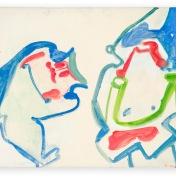 Maria Lassnig Zwei nebeneinander / Doppelfiguration (Two side by side / Double-Figuration) 1961 Oil on canvas 97 x 120 cm / 38 1/4 x 47 1/4 in © Maria Lassnig Foundation Courtesy Hauser & Wirth