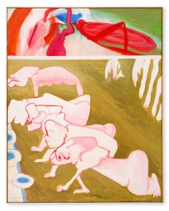 Maria Lassnig Der irdische Wettlauf (The Earthly Race) 1963 Oil on canvas 1615 x 130 cm / 635 7/8 x 51 1/8 in © Maria Lassnig Foundation Courtesy Hauser & Wirth