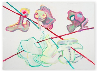 Maria Lassnig Schicksalslinien / Be-Ziehungen VIII (Lines of Fate / Re-lations VIII) 1994 Oil on canvas 150 x 205 cm / 59 x 80 3/4 in © Maria Lassnig Foundation Courtesy Hauser & Wirth