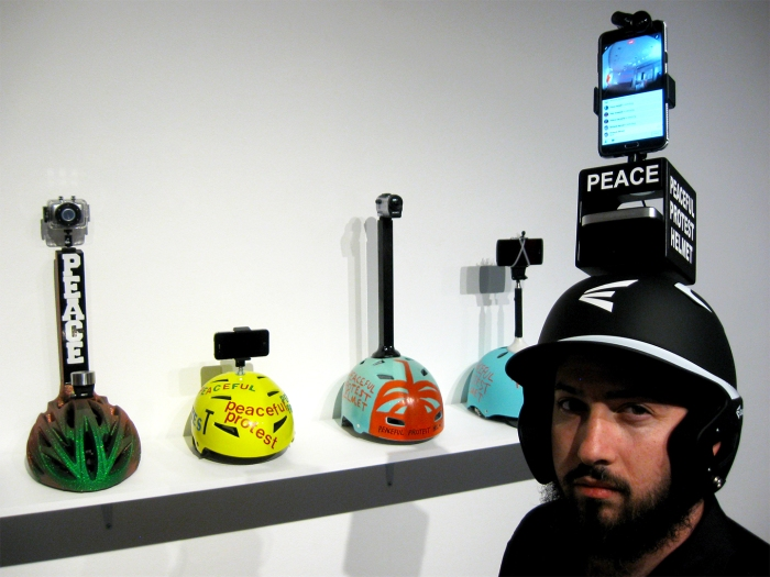 "James Berson ""Peaceful Protest Helmet"" ""S/Election Show"" Los Angeles Municipal Art Gallery Photo Credit Patrick Quinn"