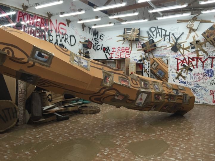Thomas Hirschhorn at The Mistake Room. Photo Credit Lorraine Heitzman