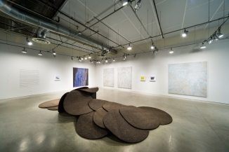 """Installation view, Lloyd Hamrol/Joan Perlman: """"a sky in the palm of a hand,"""" September 25, 2016-February 19, 2017, Pasadena Museum of California Art, photo © 2016 Don Milici"""