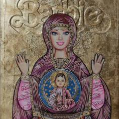 """Plastic Religion"" at La Luz De Jesus ""Barbie Byzantine Icon"" Photo Courtesy of La Luz De Jesus"