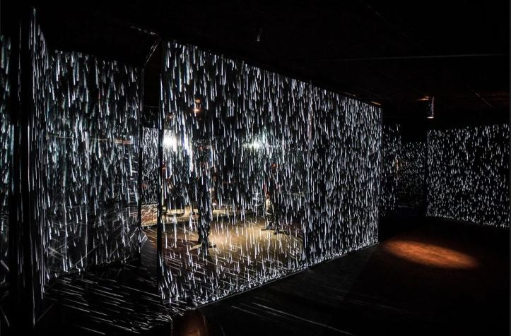 Daisy Redux: Rain Machine (Daisy Waterfall) 1969 by Andy Warhol with Digital Augmentation by Refik Anadol. Photo Courtesy of Young Projects