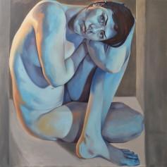 "Jennifer King Boxed In, Oil on canvas, 72""x72"", 2016 GLAMFA 2017"