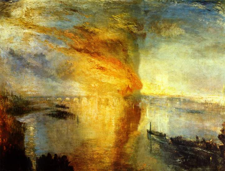"""William Turner """"The Burning of the House of Lords and Commons"""" Antonia Wright """"Under the water with sand, rocks, miles of rocks, then fire"""" Photo Courtesy Of Luis De Jesus Gallery"""