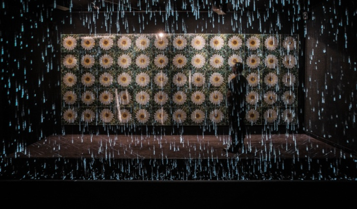 Daisy Redux: Rain Machine (Daisy Waterfall) 1969 by Andy Warhol with Digital Augmentation by Refik Anadol Photo Courtesy of Young Projects