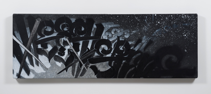 Chaz Bojorquez We come spinning...scattering stars, 2016 acrylic paint, Zolatone paint and silver marker on canvas 57 x 120 x 4 1/4 in. (137.2 x 304.8 x 12.7 cm) Copyright Chaz Bojorquez Courtesy of L.A. Louver, Venice, CA