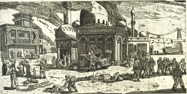 Sandow Birk, Destruction from The Depravities of War, 2007; woodcut print (ink on paper), 48 x 96 inches; courtesy of the artist and Catharine Clark Gallery, San Francisco, California