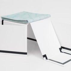 Escape Attempts. Photo Courtesy of Shulamit Nazarian. Carmen Argote, Folding Structure (pool), 2016, Paper mache, paint, and acrylic plastic core.