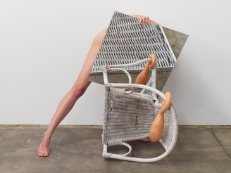 Heather Rasmussen, Untitled (Leg & mirror with chair & squash). By The River at ACME Gallery. Photo Courtesy of ACME Gallery.