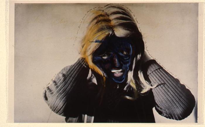 Masculine  Feminine. Photo Courtesy of The Beall Center for Art + Technology. Lynn Hershman Leeson. Roberta Turning Blue. 1979.