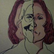 Masculine  Feminine. Photo Courtesy of The Beall Center for Art + Technology. Maria Lassnig. Self Portrait. 1971.