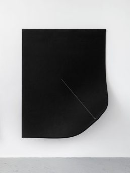 Escape Attempts. Photo Courtesy of Shulamit Nazarian. Naama Tsabar, Work on Felt (Variation 9) Bordeaux, 2016, Industrial felt, carbon fiber, epoxy, wood, guitar tuner, piano string, amplifiers, 123 x 71.5 inches