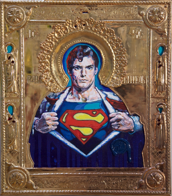 Ironic Icons: The Art of Valentin Popov, St. Superman. Photo Courtesy of Long Beach Museum of Art.