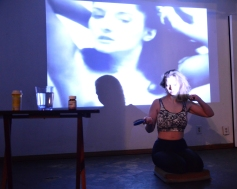 The Head and the Heart. Siobhan Hebron. Twelfth Cycle. March 7th - March 11th, 2016. Illness must be beautiful, Patient must be beautiful, (after Marina Abramović's 1975 'Art must be beautiful, Artist must be beautiful'), 2016, durational performance at the Women's Center for Creative Work. Photo Courtesy of the Artist.