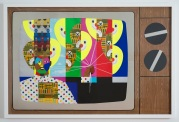 Derrick Adams King for a Day, 2014 Mixed media collage on paper and mounted on archival museum board Framed: 50 3/8 x 74 9/16 inches (128 x 189.4 cm) Courtesy: Tilton Gallery and the California African American Museum