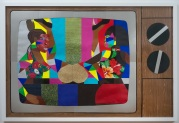 Derrick Adams Stunts and Shows, 2014 Mixed media collage on paper and mounted on archival museum board Framed: 50 3/8 x 74 1/4 inches (128 x 188.6 cm) Courtesy: Tilton Gallery and the California African American Museum