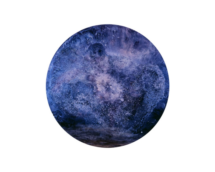 """Andy Moses: A 30 Year Survey. Santa Monica College, Pete and Susan Barrett Art Gallery. """"The Alchemist"""", 1988 Oil and powder pigment on panel 54 inches diameter Collection of the artist. Photo Courtesy Of The Gallery."""