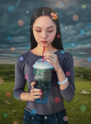 Alex Gross, Contemplation (Slurpee) Corey Helford Gallery Photo credit- JulieFaith ©2017, All rights reserved.