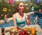 Alex Gross, Detail of Laurel Canyon Social Network, Corey Helford Gallery Photo credit- JulieFaith ©2017, All rights reserved.