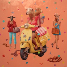 Alex Gross, Shopaholics II, Corey Helford Gallery Photo credit- JulieFaith ©2017, All rights reserved.