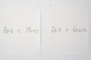 """The Head and the Heart. Siobhan Hebron. Hoyt Gallery. USC Keck School of Medicine. Art+Illness, Art+Excess, 2014, graphite on paper, 30 x 44"""" diptych. Photo Courtesy of the Artist."""