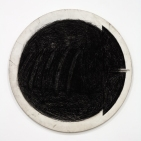 """""""Cock in the Box."""" The Box, Los Angeles. Judith Bernstein. Circle Screw. 1970. Graphite on Canvas. 48 inch Diameter. Photo Courtesy of The Box."""
