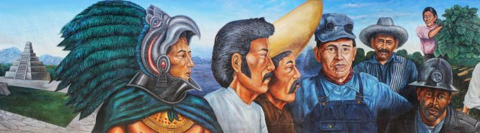 Chapman University. Emigdio Vasquez and el Proletariado de Aztlan: Geography of Chicano Murals in Orange County. Emigdio Vasquez, El Proletariado de Aztlan (Detail), 1979, acrylic on plaster, 8' x 40'. Chapman University Art Collections, Copyright Emigdio Vasquez Art. Photo: Jessica Bocinski.