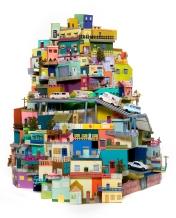 Craft and Folk Art Museum. The U.S. - Mexico Border: Place, Imagination, and Possibility. Ana Serrano, Cartonlandia, 2008. Cardboard, paper, acrylic paint. 5' x 4' x 4.5'. Photo: Julie Klima. Courtesy of the artist.