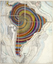 Los Angeles Contemporary Exhibitions (LACE). Juan Downey: Radiant Nature. Juan Downey, Map of America, 1975. Colored pencil, pencil, and synthetic polymer paint on map on board. 34 1/8 x 20 inches. Photograph by Harry Shunk. The Estate of Juan Downey, New York, via The Museum of Modern Art, New York.