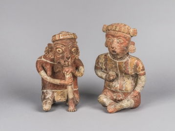 Mingei International Museum. Art of the Americas: Mesoamerican and Pre-Columbian Art from Mingei's Permanent Collection. Male and Female Ancestor Figures, Mexico, Nayarit, 300 BCE-300 CE, Painted ceramic, Collection of Mingei International Museum, Gift of Fred and Barbara Meiers, 1996-82-002A-B.