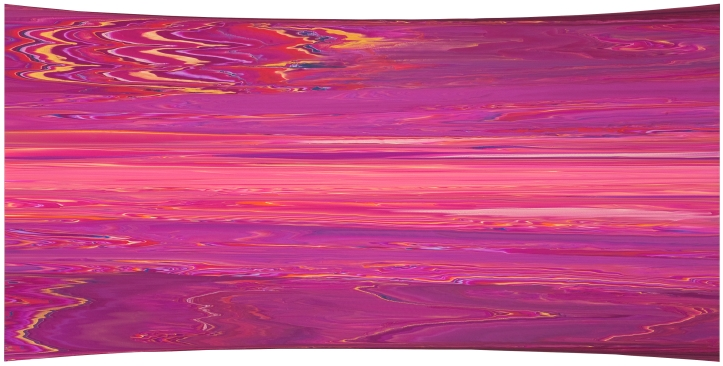 """Andy Moses: A 30 Year Survey. Santa Monica College, Pete and Susan Barrett Art Gallery. """"Permian Basin"""", 2010 Acrylic on canvas over parabolic concave wood panel 45x90 inches Collection of the Frederick R Weisman Art Foundation. Photo Courtesy Of The Gallery."""