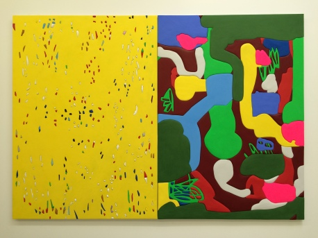 """Yellow Panel,"" 2017 Wood, aqua resin, casein, and acrylic gouache 76"" H x 54"" W and ""Garden,"" 2017 Wood, aqua resin, casein, and acrylic gouache 76"" H x 54"" W. Sadie Benning. Blinded by the Light. Susanne Vielmetter Los Angeles Projects. Installation View. Photo Credit Jody Zellen."