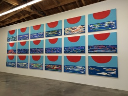 """Sunset (Series) 2016. Wood, casein, acrylic gouache, and aqua resin 38"""" H x 54"""" W. Sadie Benning. Blinded by the Light. Susanne Vielmetter Los Angeles Projects. Installation View. Photo Credit Jody Zellen."""